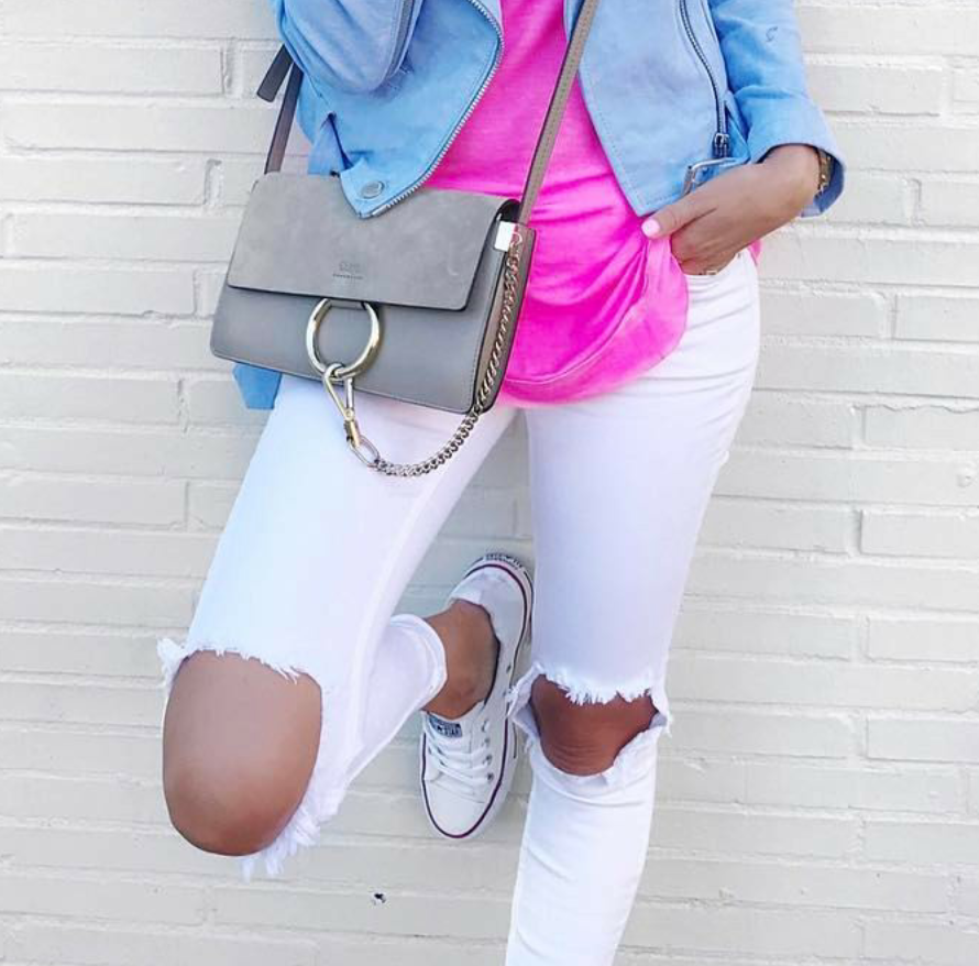 White ripped destroyed distressed free people high waisted jeans spring fashion blog